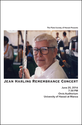 Program from the Jean Harling Remembrance Concert on June 20, 2016 (Click for PDF)