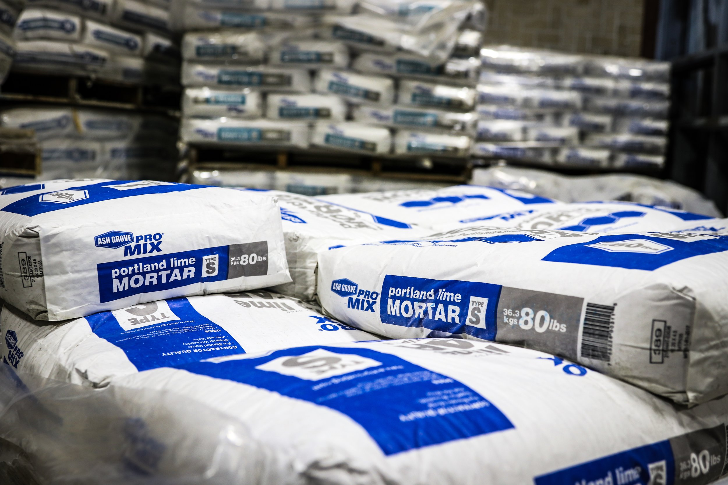 Pioneer Material Inc. offers a fully stocked warehouse of packaged masonry products.