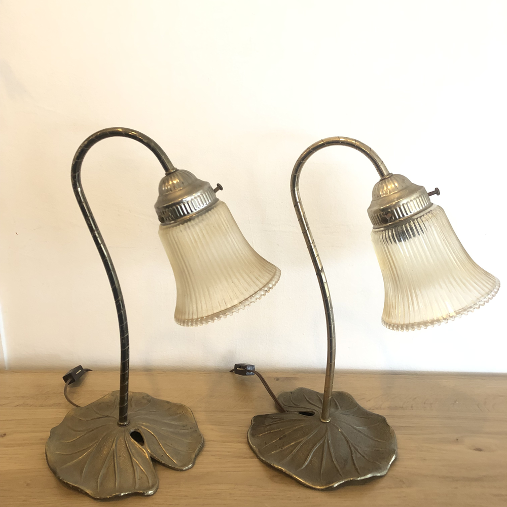 Brass Art Deco Style Lily Pad Table Lamps A Pair Mimo