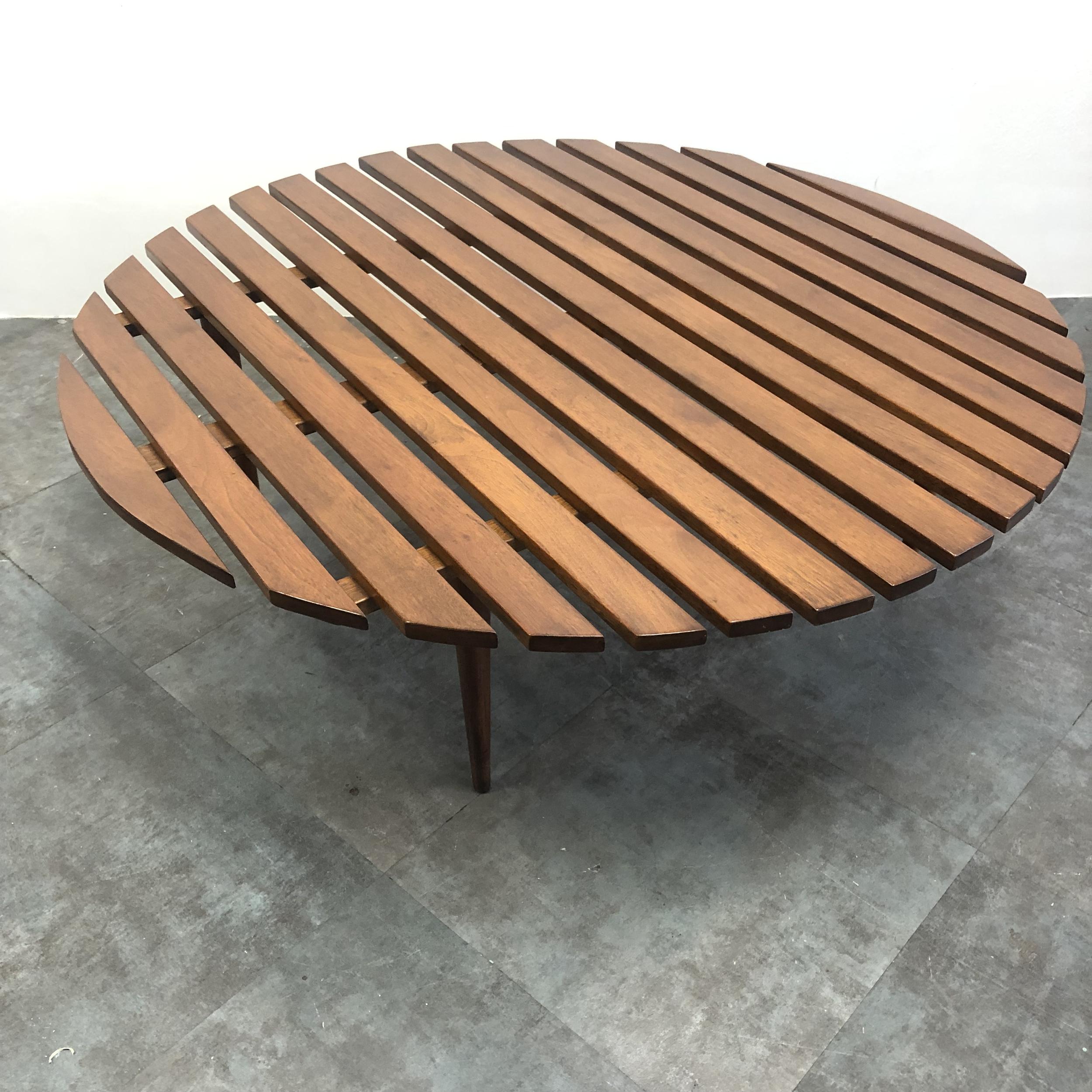 "- Mid-Century Modern Large 48"" Round Slat Wood Coffee Table — MIMO"
