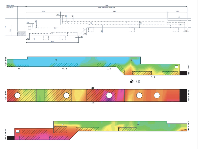 Half cell potential plots on the face of each beam incorporating spalling and delaminated areas and chloride, corrosion rate and resistivity testing to assist in the anode arrangement design. A typical arrangement of discrete anodes on a beam is shown above.