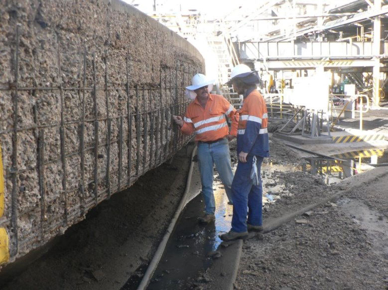 Section of tank wall after hydro-demolition of delaminated concrete.