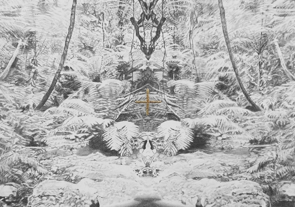 Sanctuary of The Undergrowth (detail) - graphite pencil and 24kt gold leaf on paper, 2016