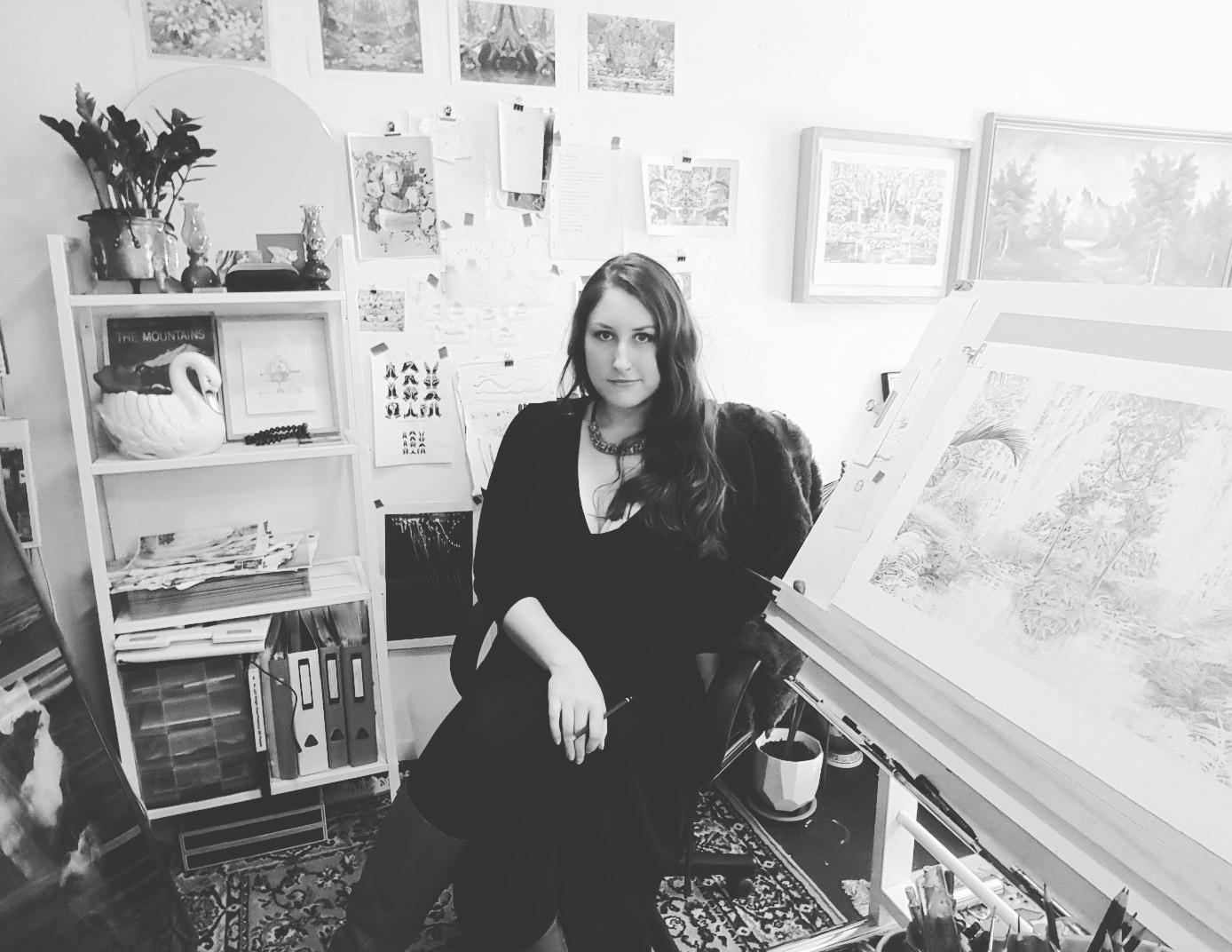 Becc Orszag in her studio