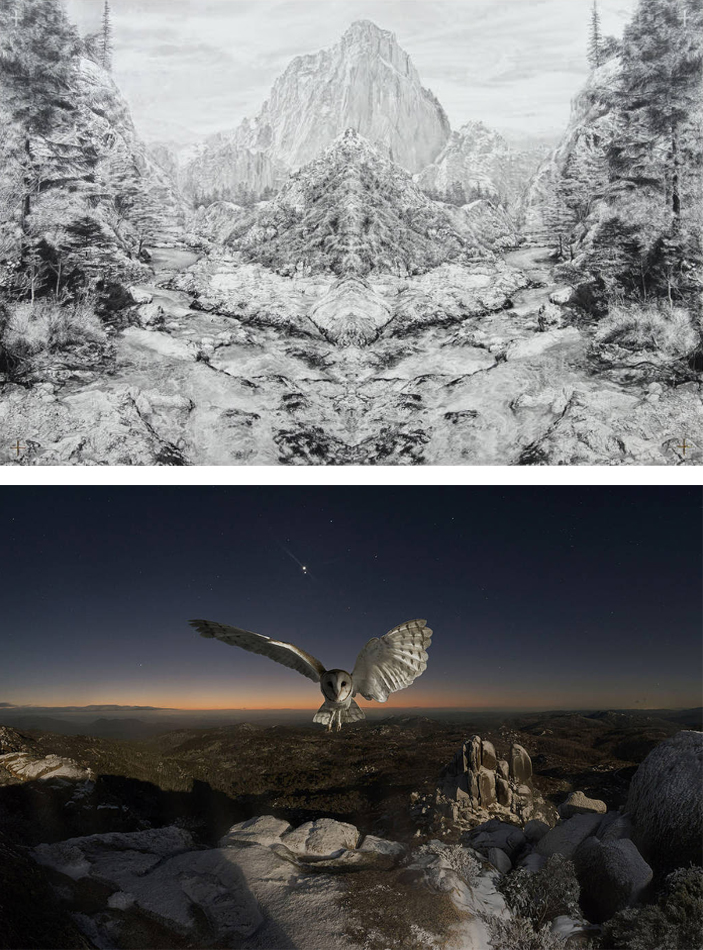 From top: Becc Orszag, The Source of All Things (Birth of the Rivers), 2016, graphite pencil, carbon pencil, 24kt gold leaf on paper, 105x76cm. Jeremy Blincoe, Detatchment, 2016, pigment inkjet print, 100x151cm.