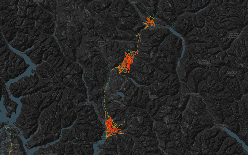 Mountain Bike Trails Heat Map of the Sea To Sky Region