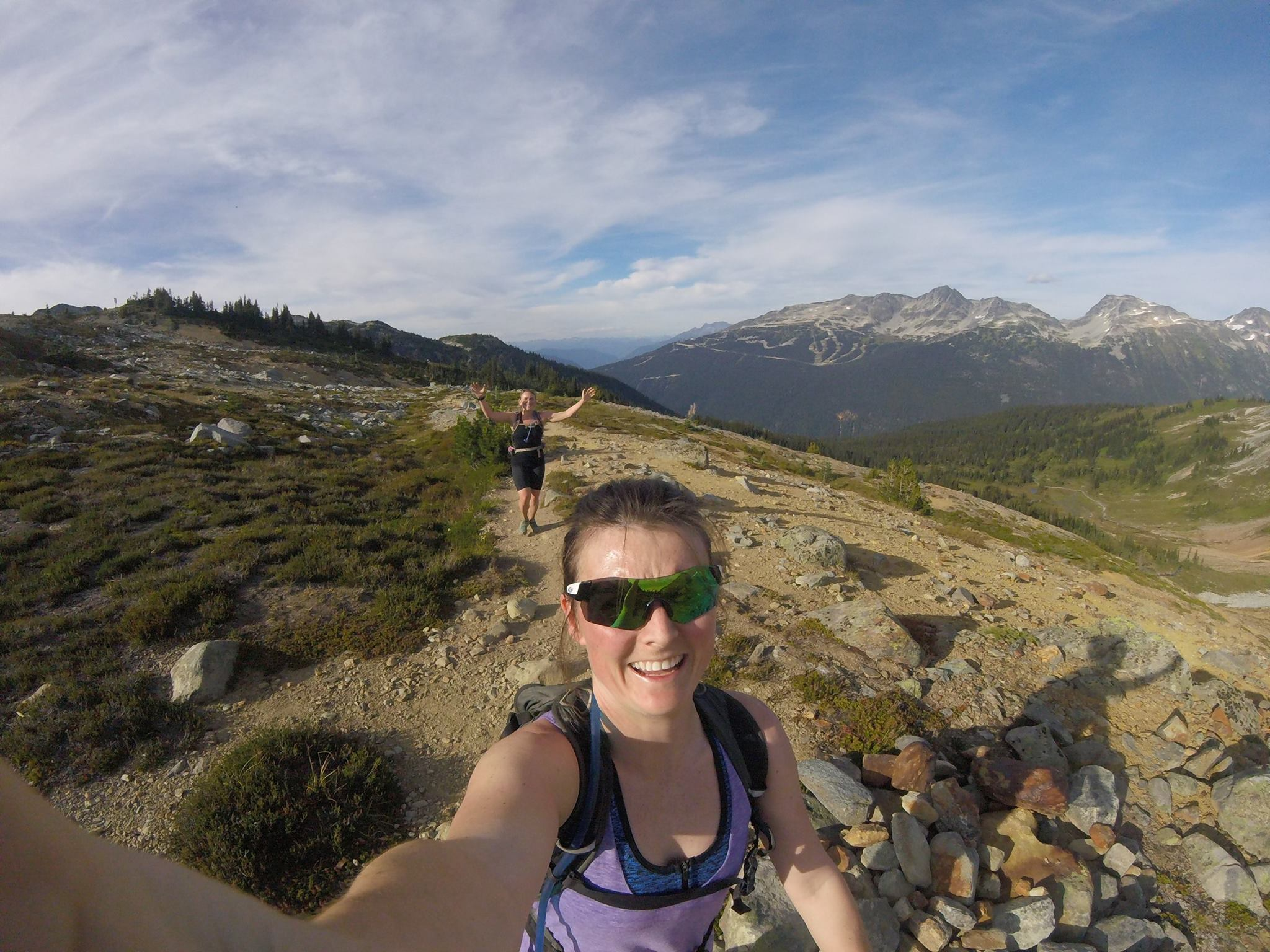Kate Whitley and I running singing pass a few weeks before the Salomon Valley to Peak race.