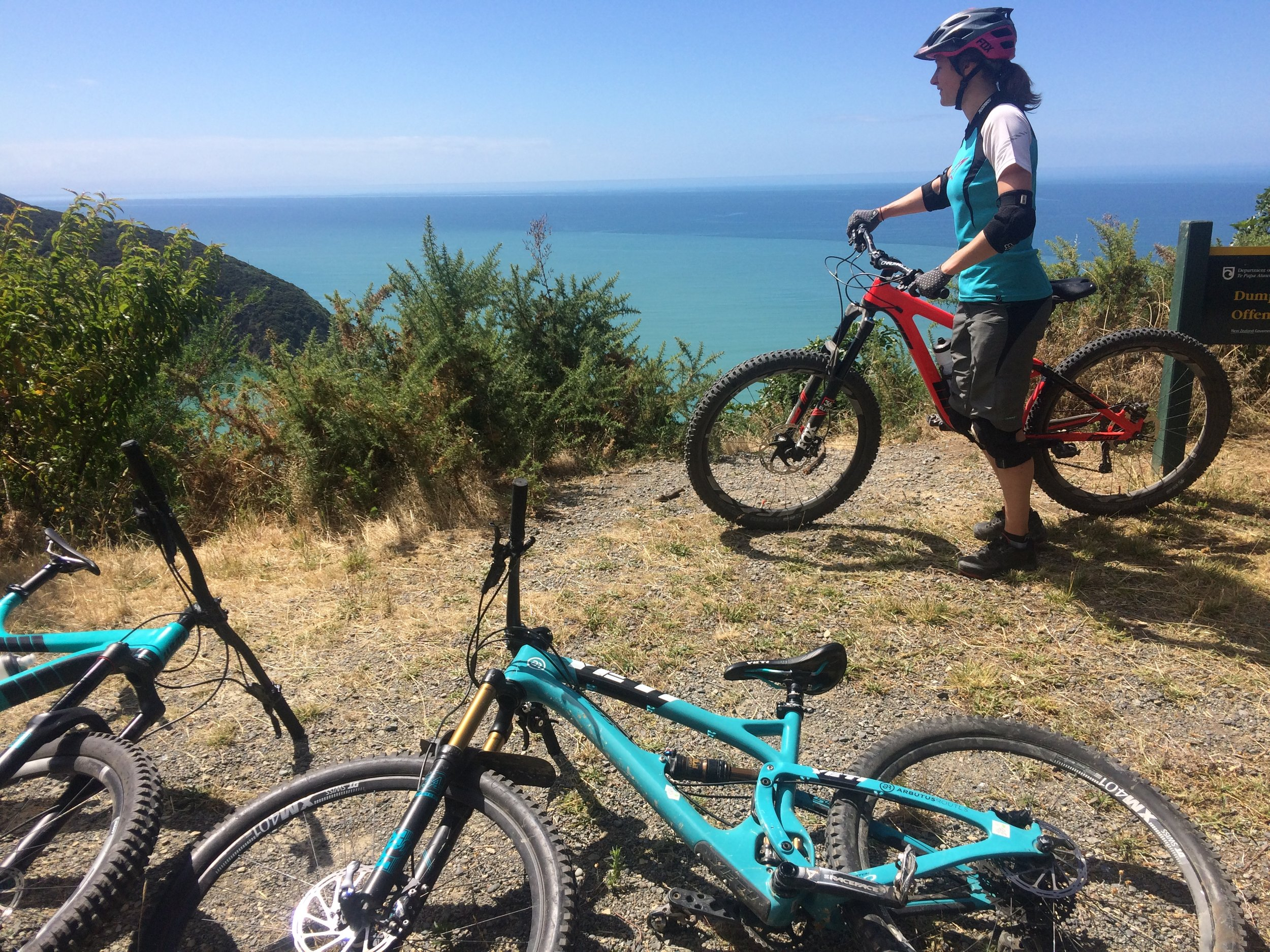Ali taking in ocean views from the mountain bike portion of White's Bay