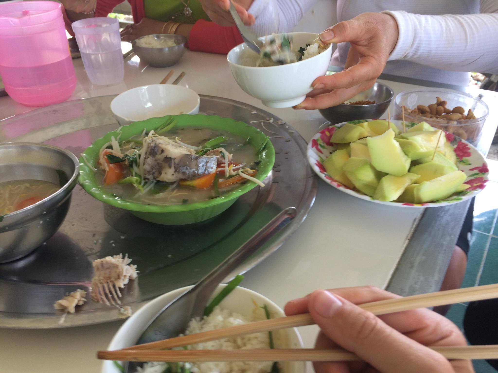Vi and her family cooked up the Mekong Delta specialty: sour soup with fresh fish.