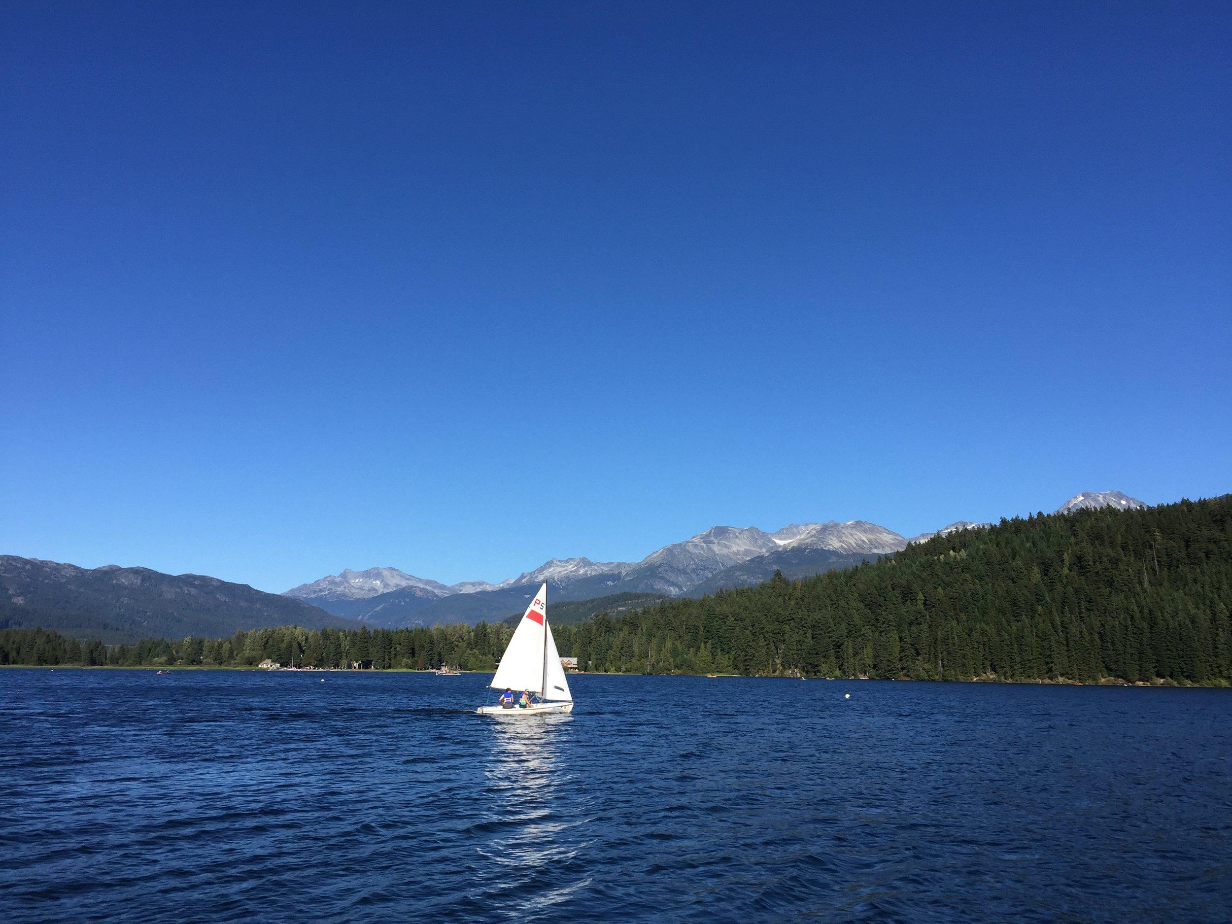 Recharding: Enjoying Alta lake between race days.