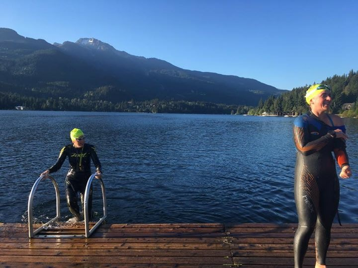 Finishing our 4km swim in Alta Lake with smiles!