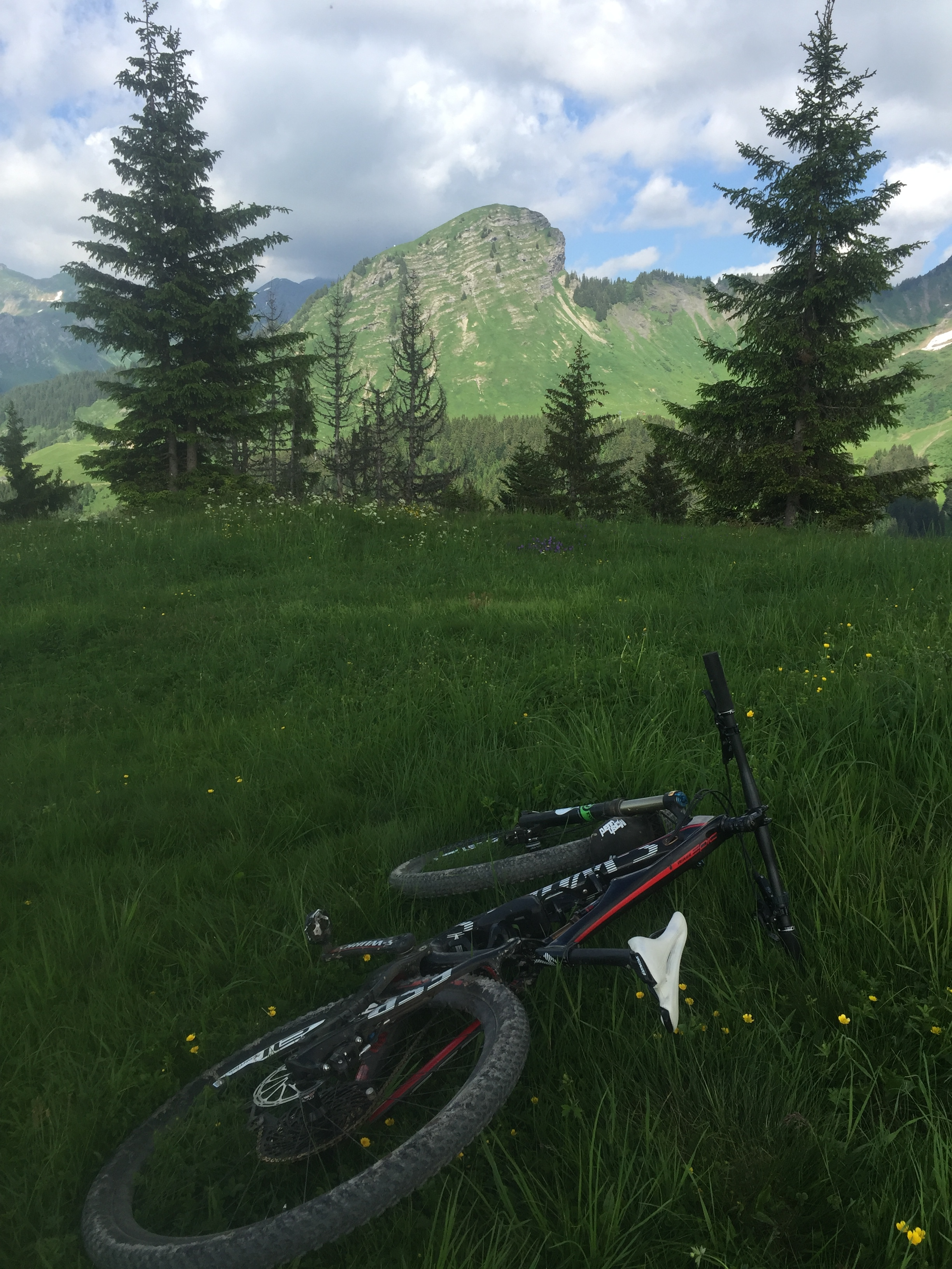 Enjoying the views from the top of Les Gets Bike Park