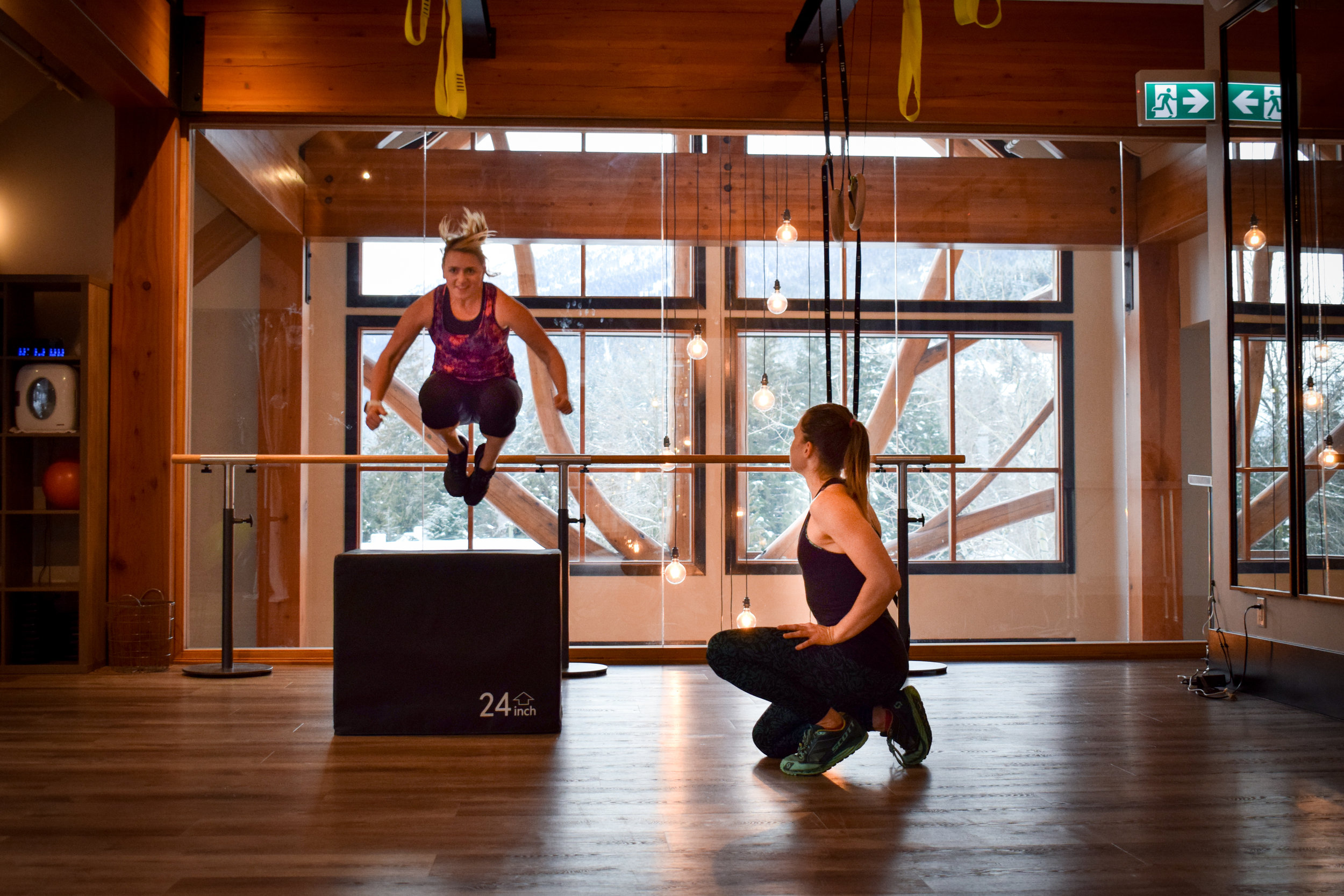 It's not all about snow. I spent a good amount of time getting strong in the gym with Emma. Photo: Megan Wilson