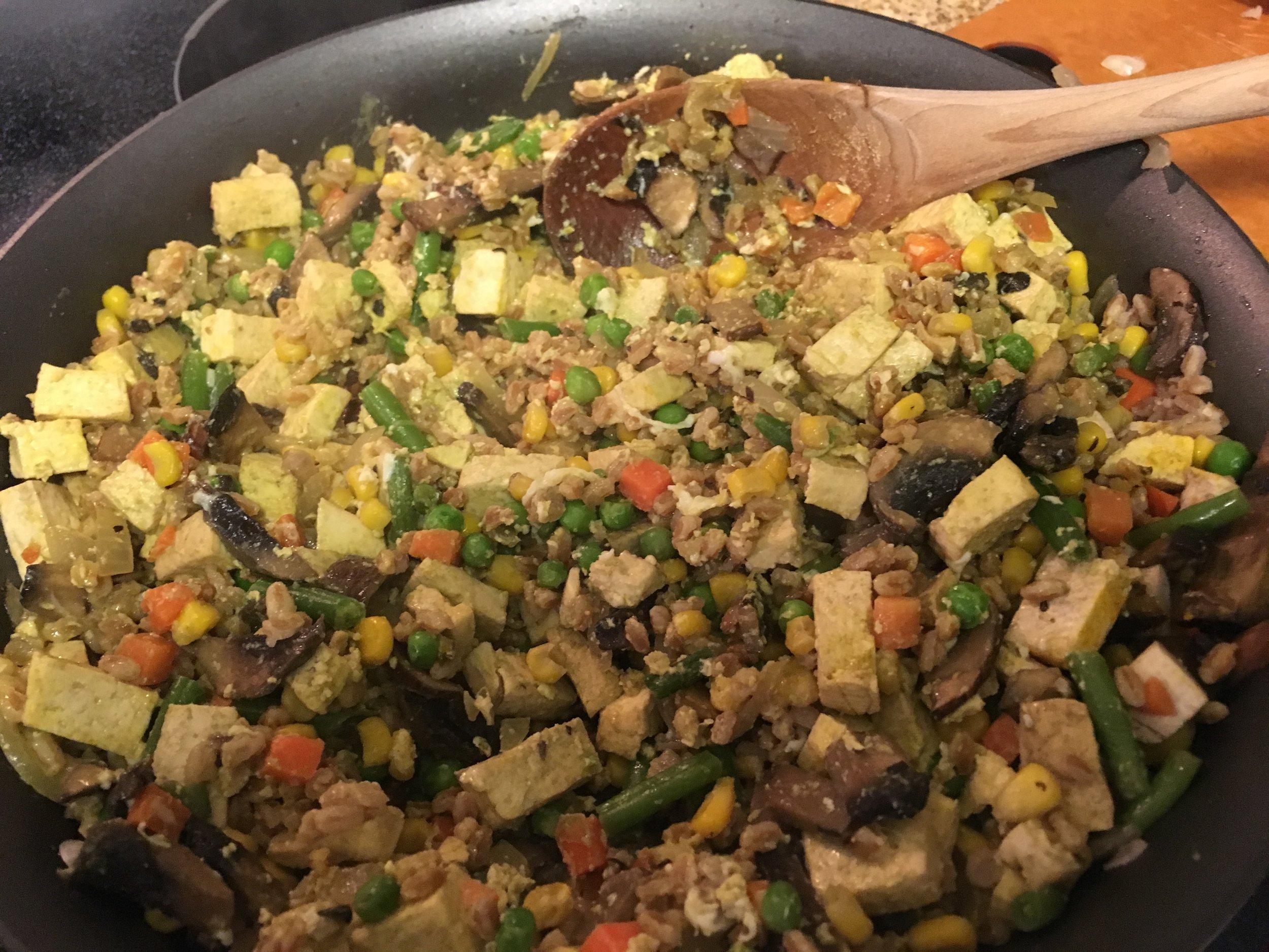 Tofu veggie farro fried rice