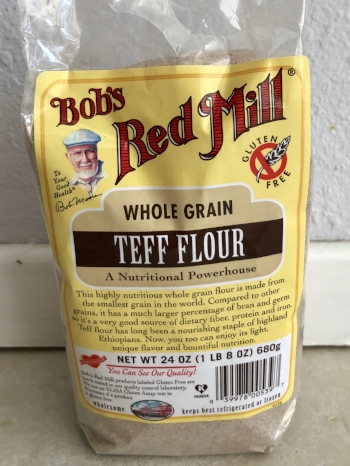 Bob's Red Mill Teff Flour, one of the more popular brands, usually found in specialty food stores like Sprouts and Whole Foods.