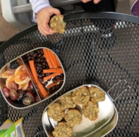 We took our muffins on the go for a balanced snack - paired them with some fruit, carrots and black beans.