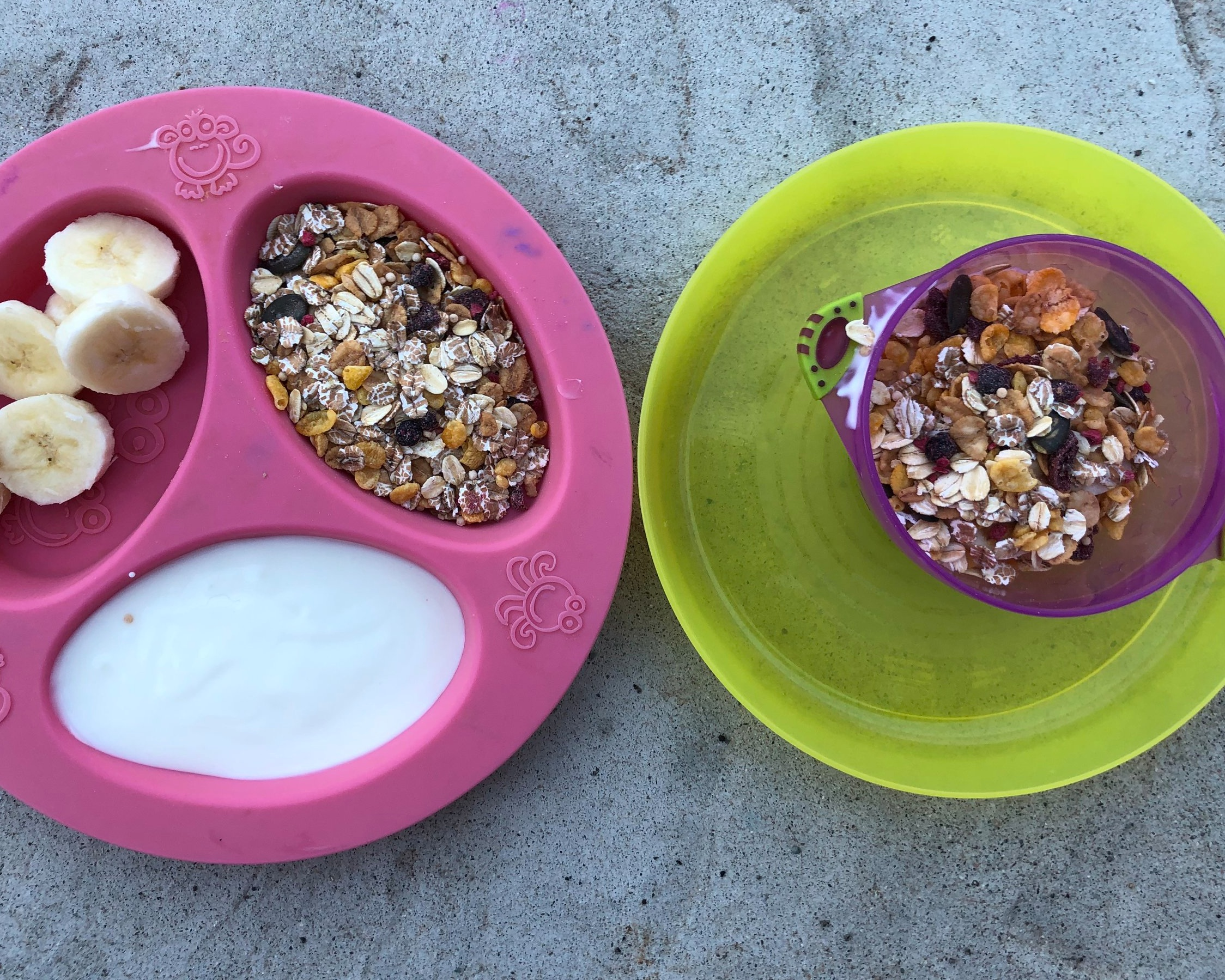 Day 4 - DIY yogurt and granola parfaitOne of my favorite breakfast menu items! I provide the kiddos yogurt, sliced bananas or other fruit and some sort of granola (muesli is pictured here). Then I let my kids create their own parfait in a separate bowl. It may get eaten before it's placed in the bowl, but the point is to have a fun and engaging breakfast.