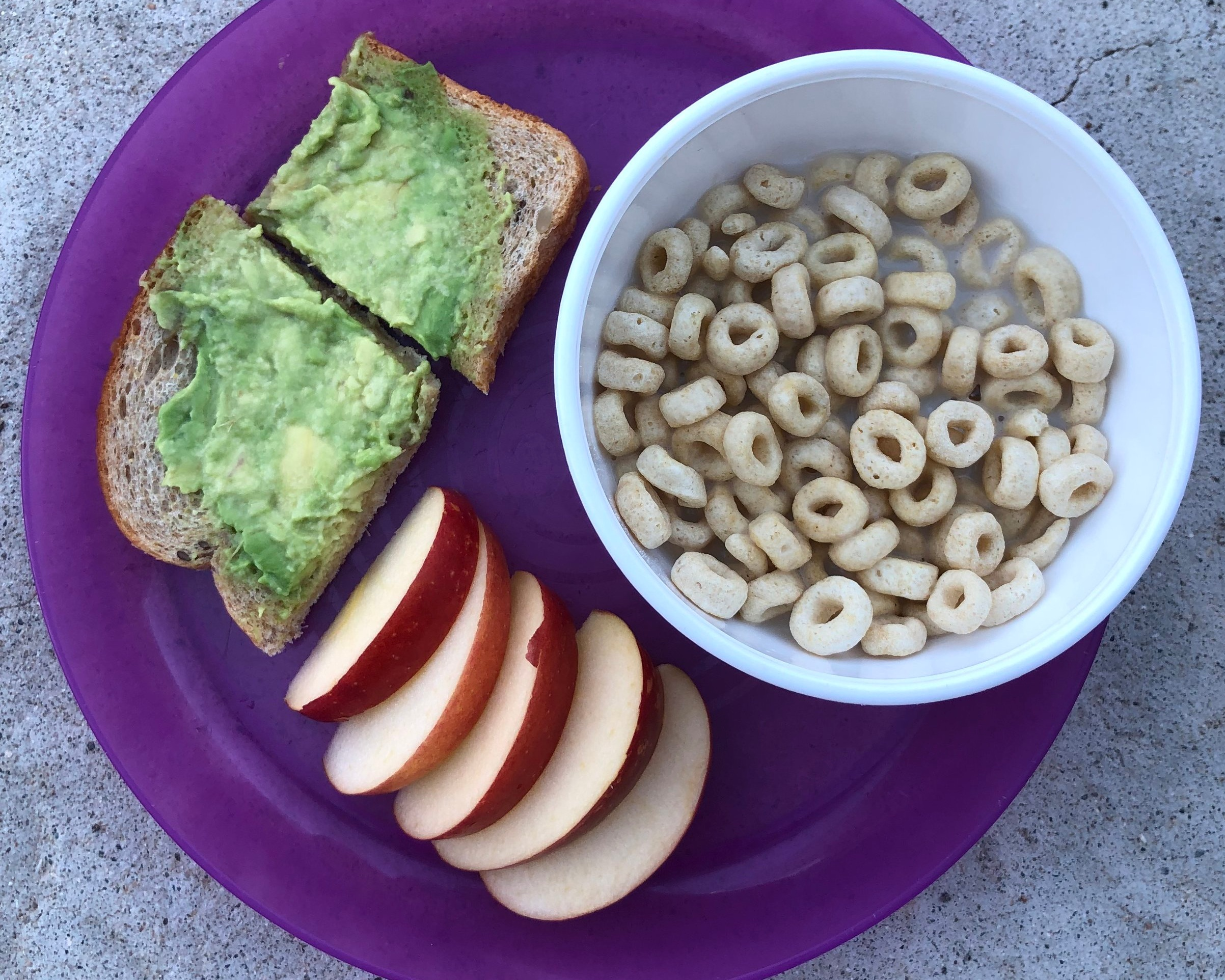 Day 6 - Avocado toast, Cheerios and milk with fruitAvocado toast is one of my favorites, and my kids seem to like it too. Cheerios are a staple. This picture really describes itself!