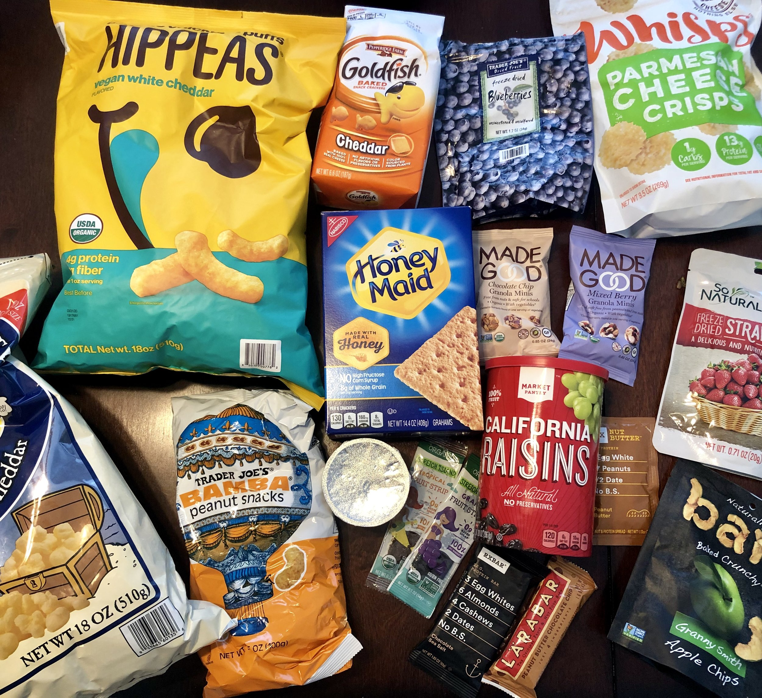A peak into my current prepared food snack cabinet: I try to incorporate multiple food groups and not just carbohydrates.