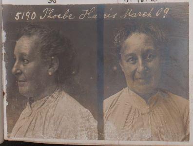 Phoebe Harris' mug shot. Image from female prison register, PROV, VPRS 516/P2, Unit 9, p. 226.
