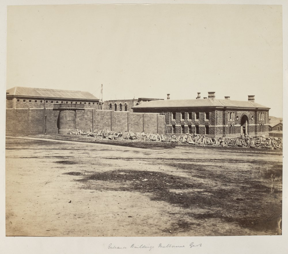 Entrance buildings at Melbourne Gaol, c.1858-1864.  Image courtesy of SLV collection