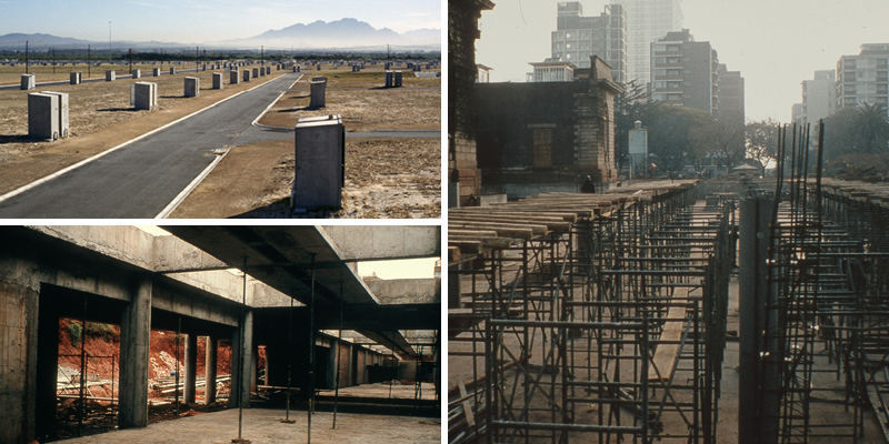 Header photo credits. Top left: Ângela Ferreira, Sites and Services, 1991-1992, Photographic silver gelatin print. © Ângela Ferreira. Bottom left and right: Johannesburg Art Gallery's Meyer Pienaar Extension under construction, 1986. © Johannesburg Art Gallery Archives.