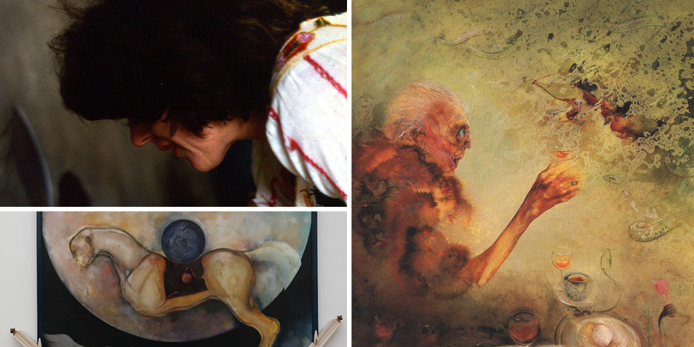 """Top left: Judith Mason and squirrel monkey October 1980. Bottom left: Judith Mason, Rocking Horse, 1974, Oil on canvas. Right: """"Self portrait age 90"""", Oil on board, 90 x 100cm, Private Collection"""