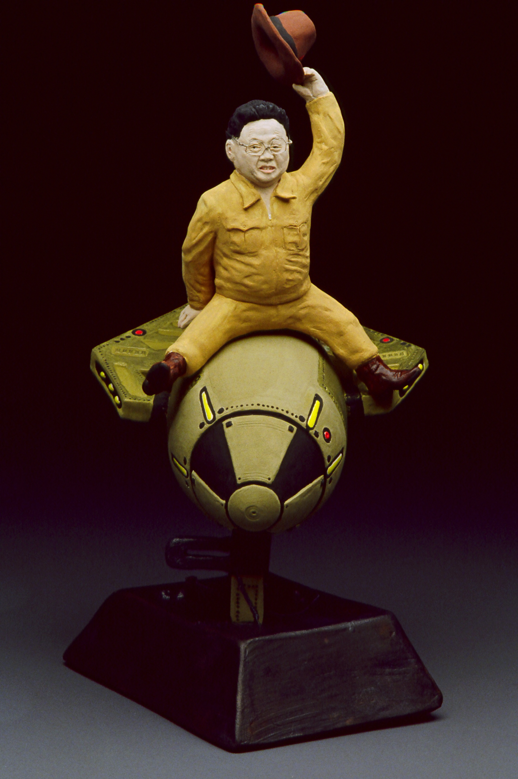 "How I Learned to Stop Worrying and Love Kim Jong , 2005  bisqued porcelain, low-fire glazes & underglaze  11.5"" by 5.5"" by 7"""