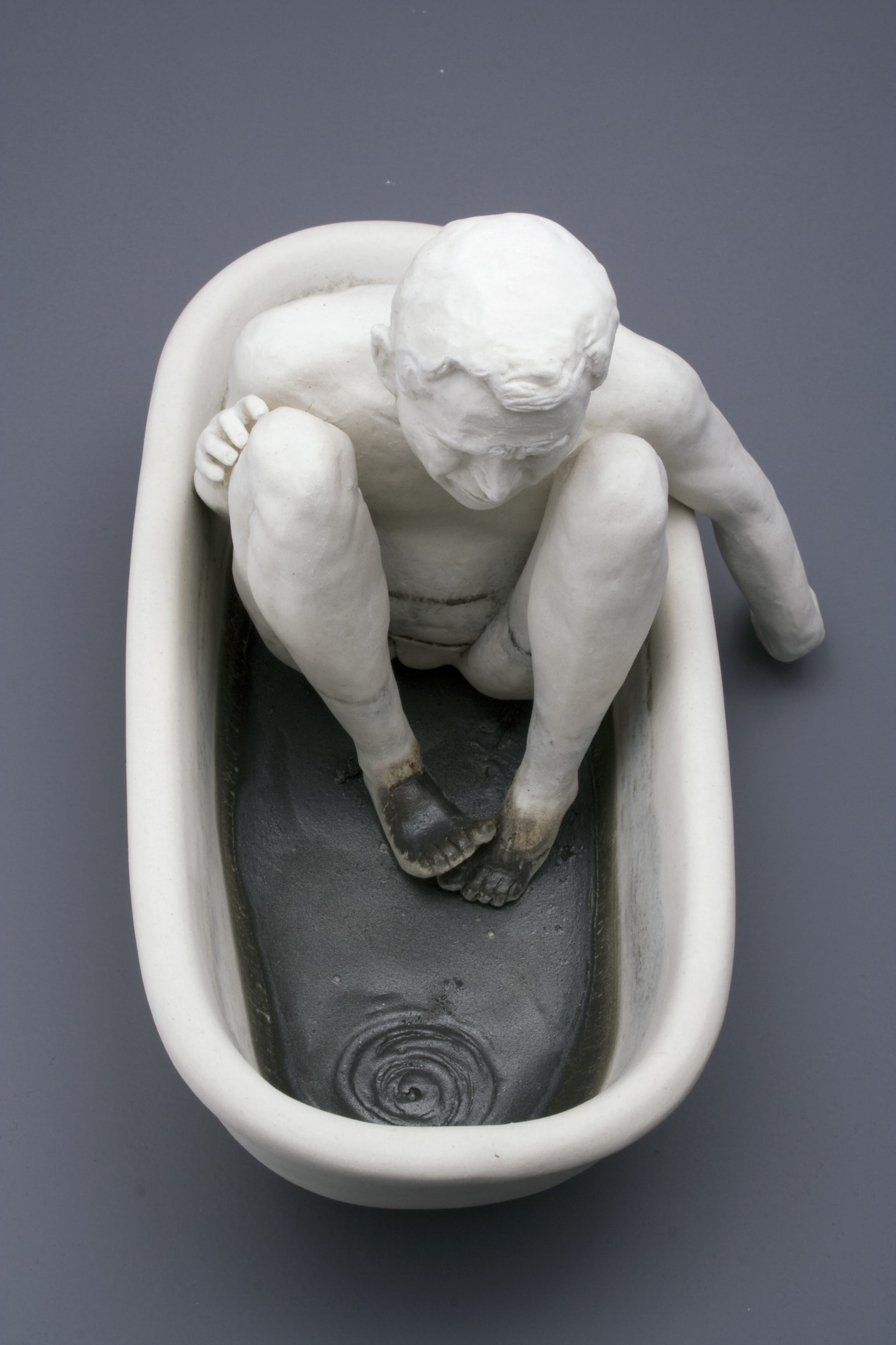 """Oil and Water   Porcelain and low-fire glaze. 7""""h x 5""""w x 9.5""""d.  2005-2006"""