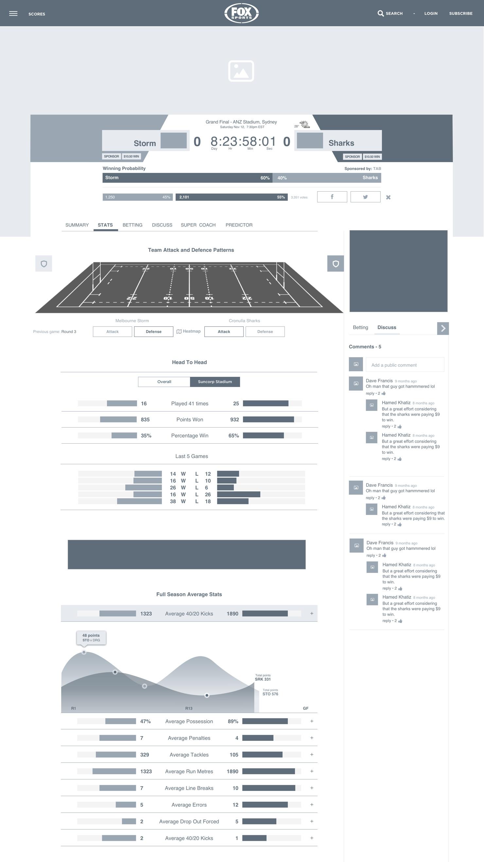 Pre-match screen for desktop - stats