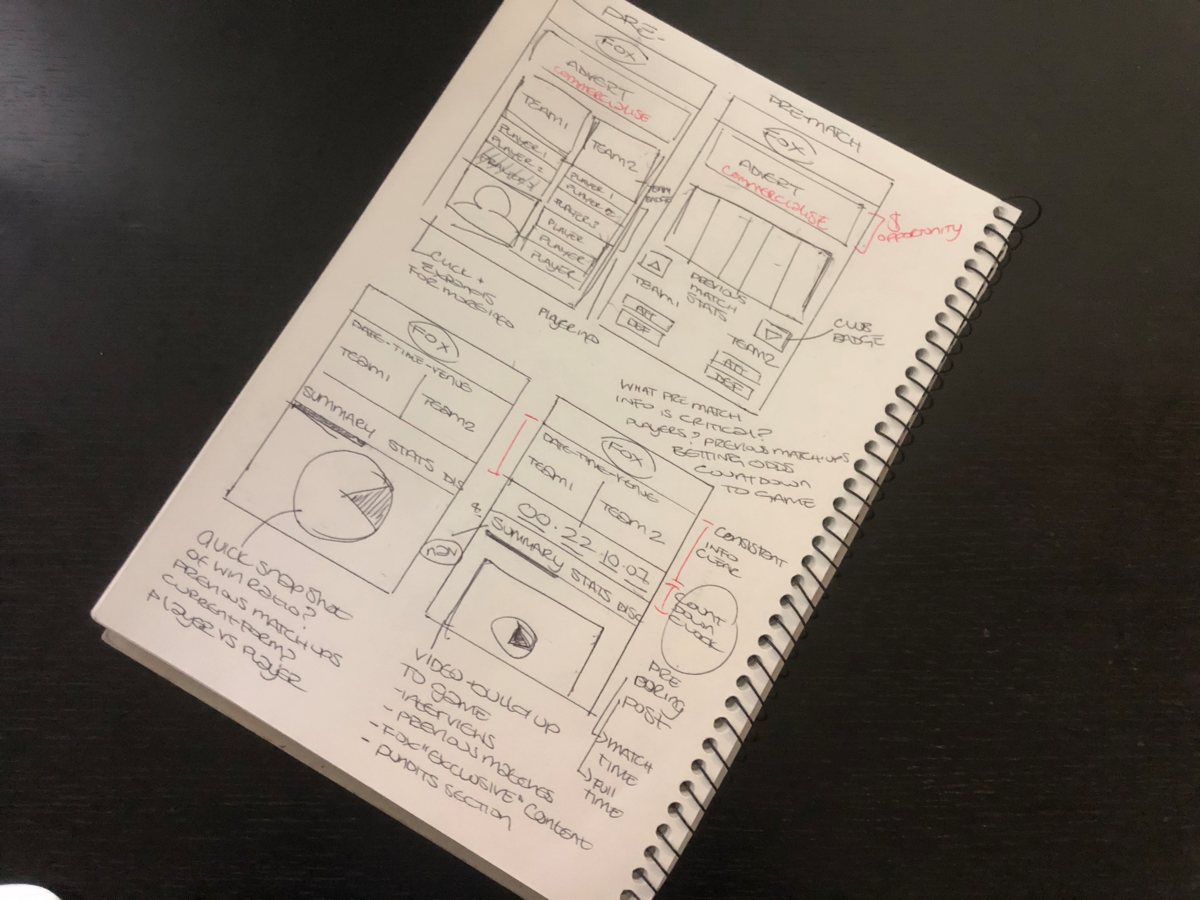 Sketching out the 'Pre-match' state for mobile