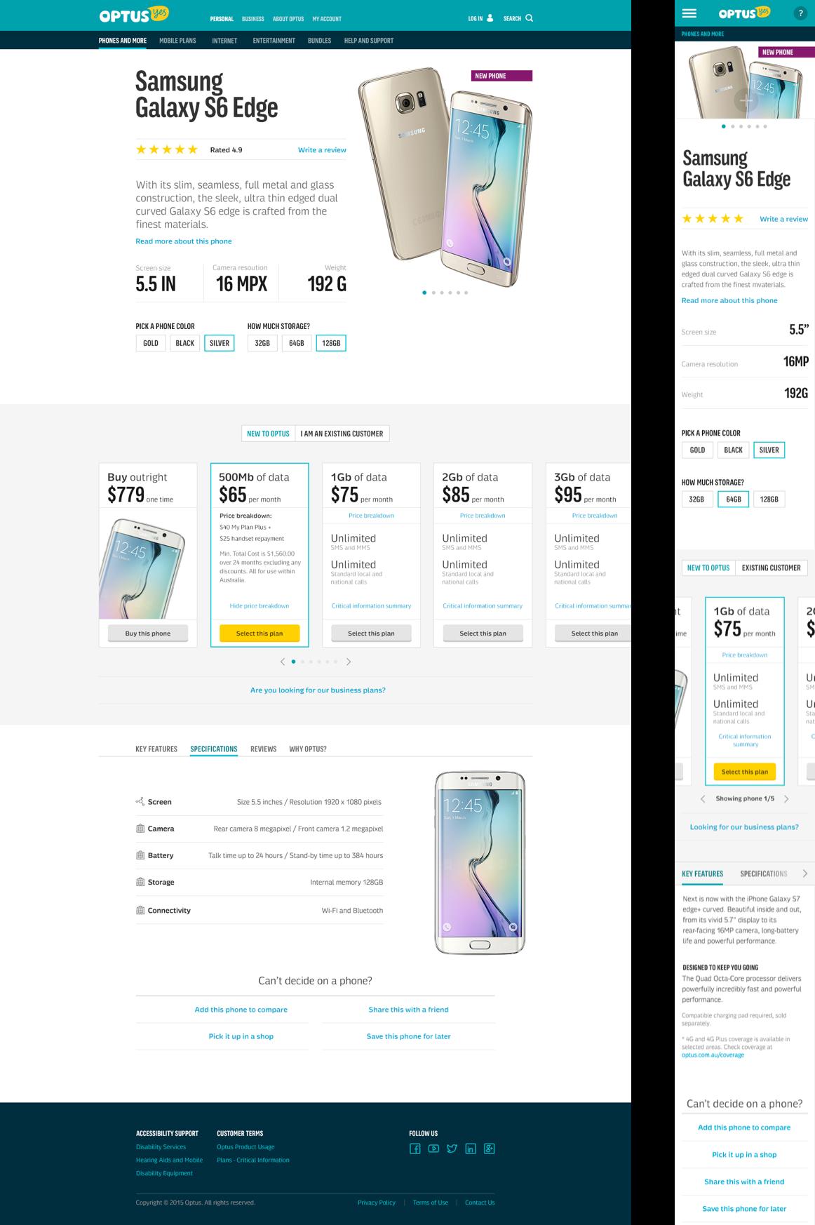 Desktop versus mobile version