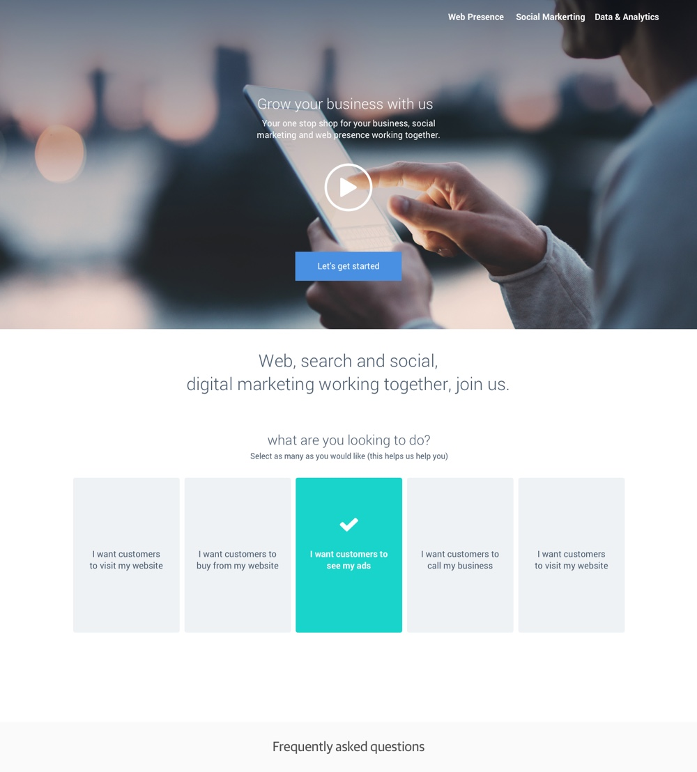 Landing page, getting started