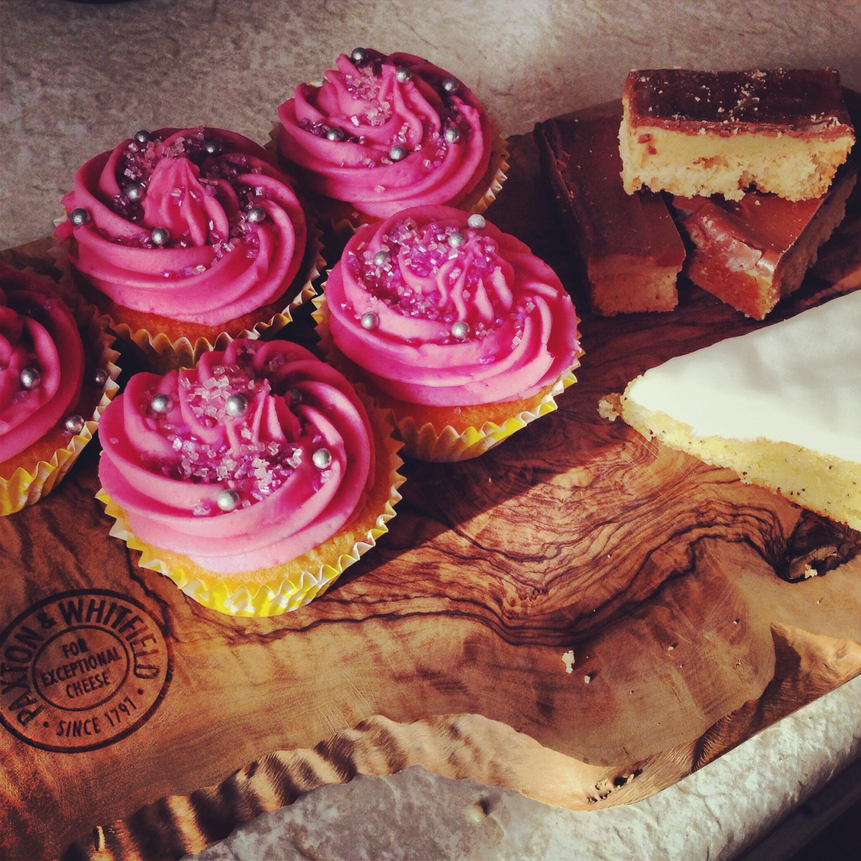 Cupcakes, millionaire shortbread and lemon poppyseed cake