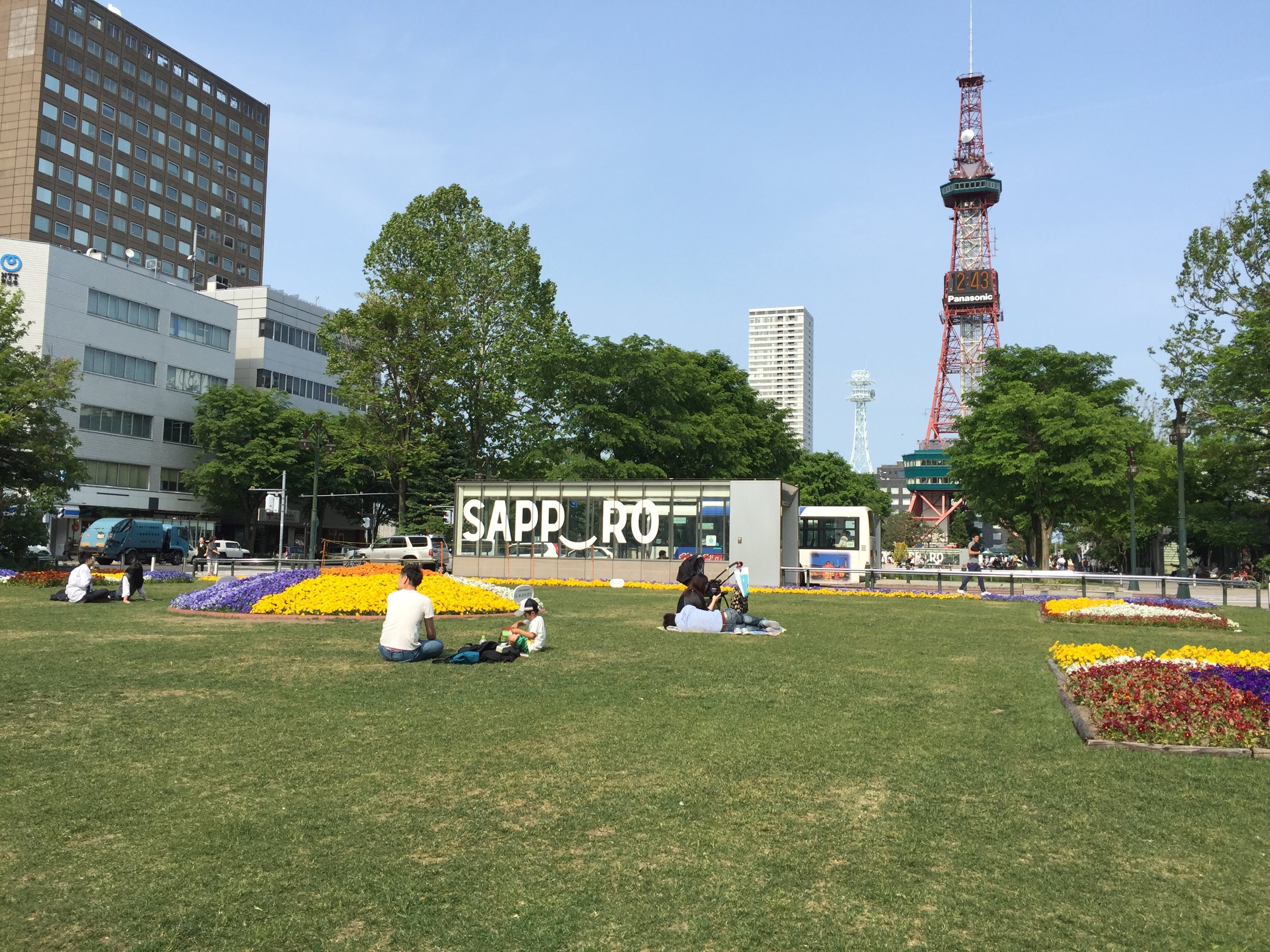 Odori Park in Sapporo looking at the TV tower