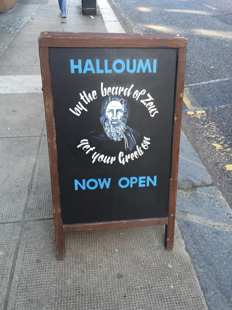 Halloumi Glasgow sign chalkboard burd