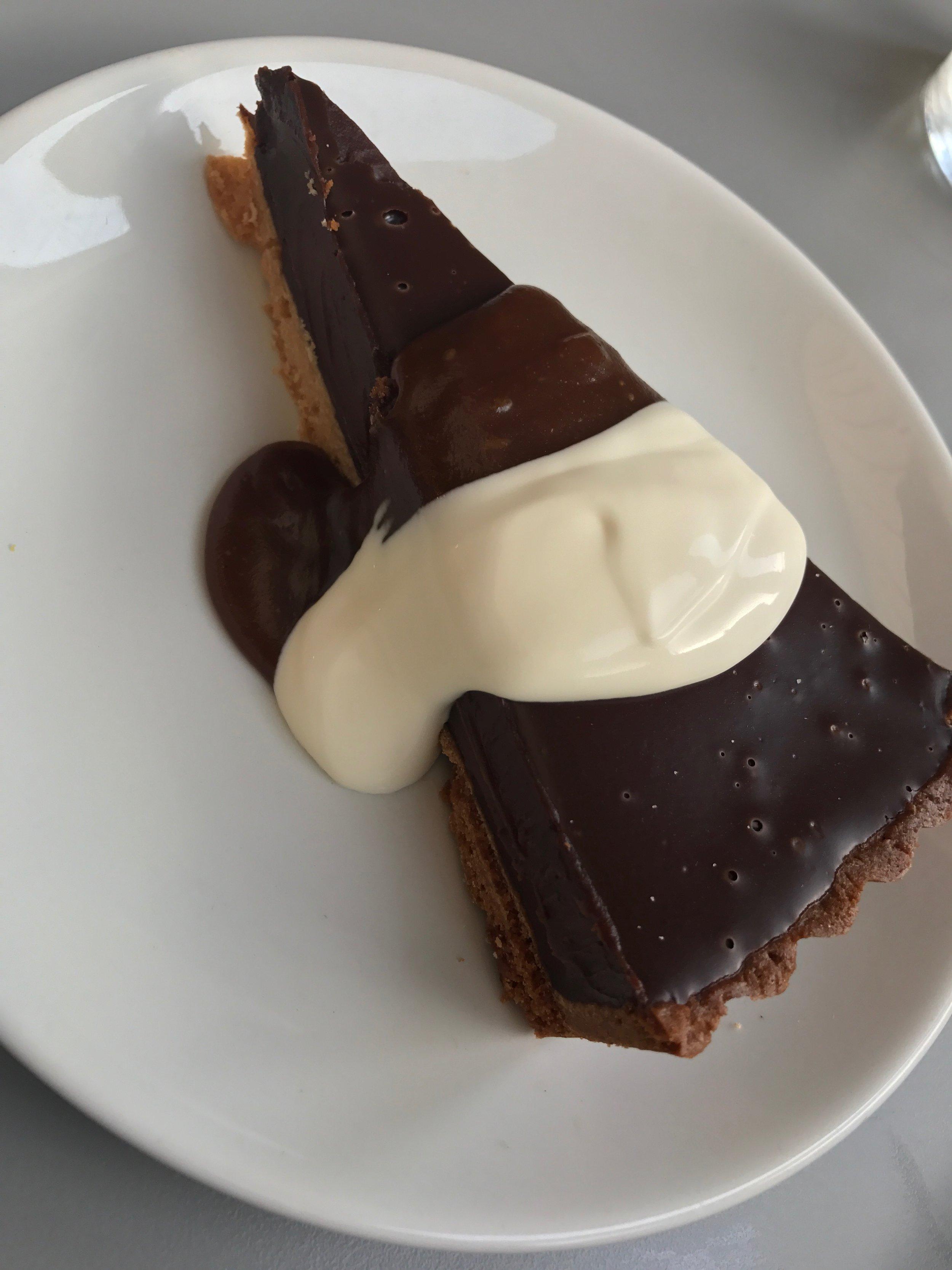 Salted chocolate torte and créme fraiche