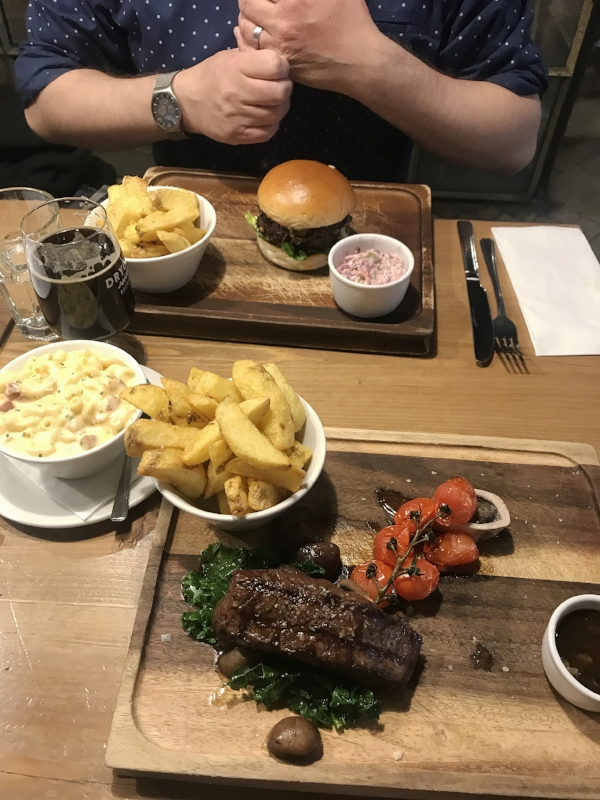 Featherblade steak and a burger for Graeme