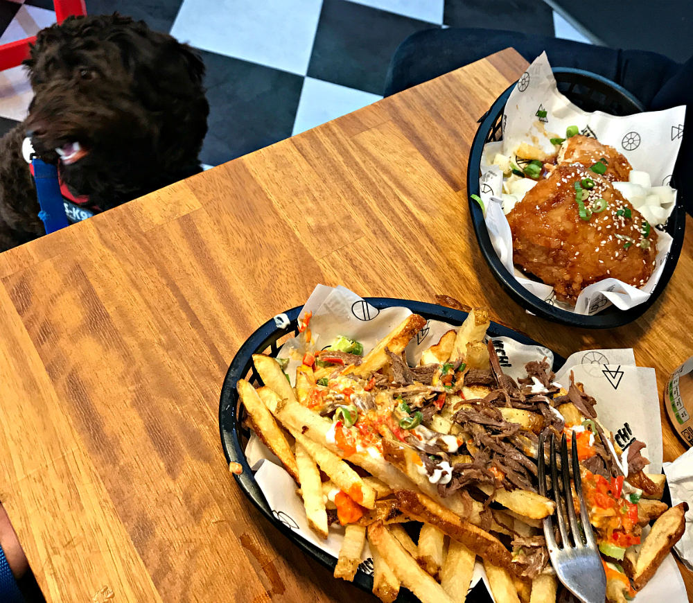 Bulgogi beef fries with soy glaze garlic fried chicken and Joffrey looking jealous