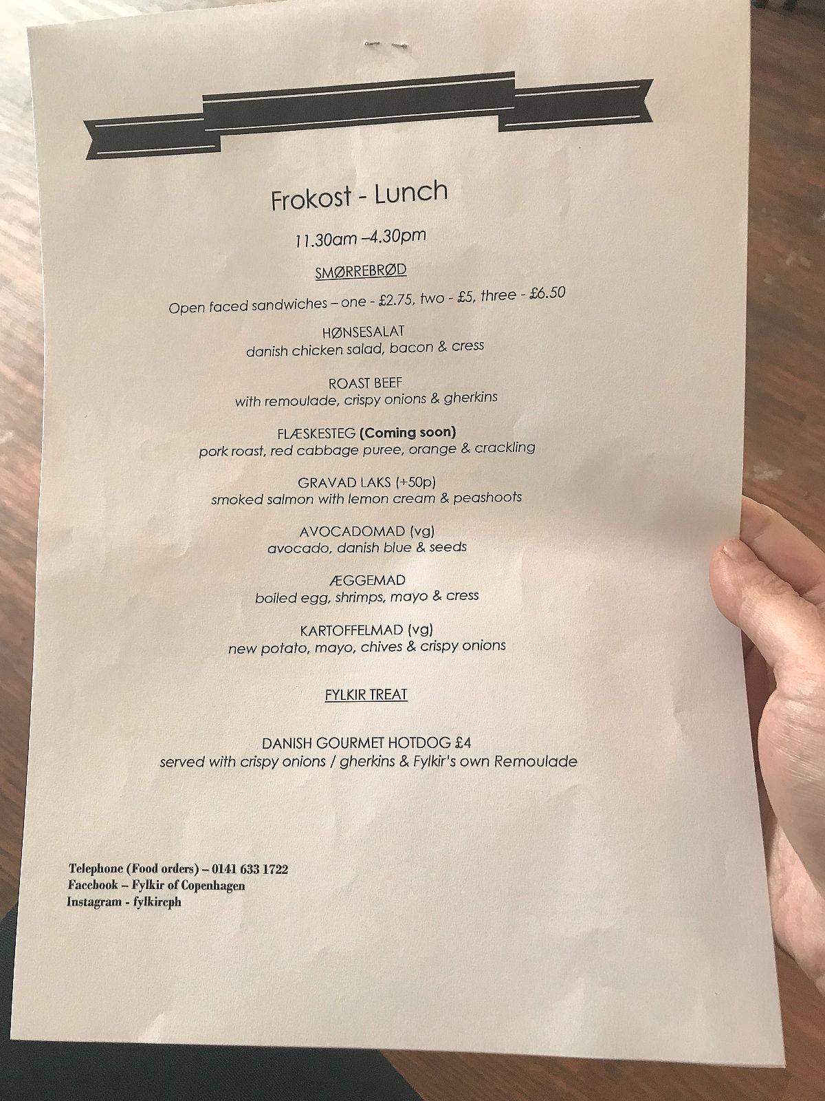 Fylkir of Copenhagen lunch menu