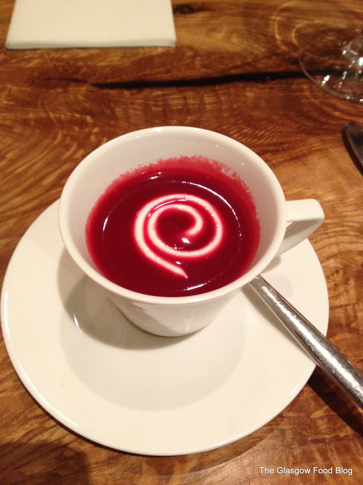 Beetroot veloute at Ian Brown Giffnock