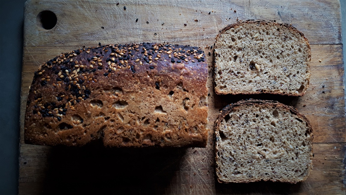 Ten Seed & Grain Sourdough Sadwich Loaf - Rs. 750 - A softer, flavourful sourdough loaf. Goes well with just a little butter, but we're sure you'll have your favourite way to eat it soon! Made only with: Wheat Flour, Water, Finger Millet, Foxtail Millet, Oats, Sprouted Wheat, Brown Rice, Sunflower Seeds, Pumpkin Seeds, Sesame Seeds Flax Seeds, Honey, Salt and Natural Sourdough Culture Approx Weight: 640g*Price includes Delivery Charge within Colombo 2-7.