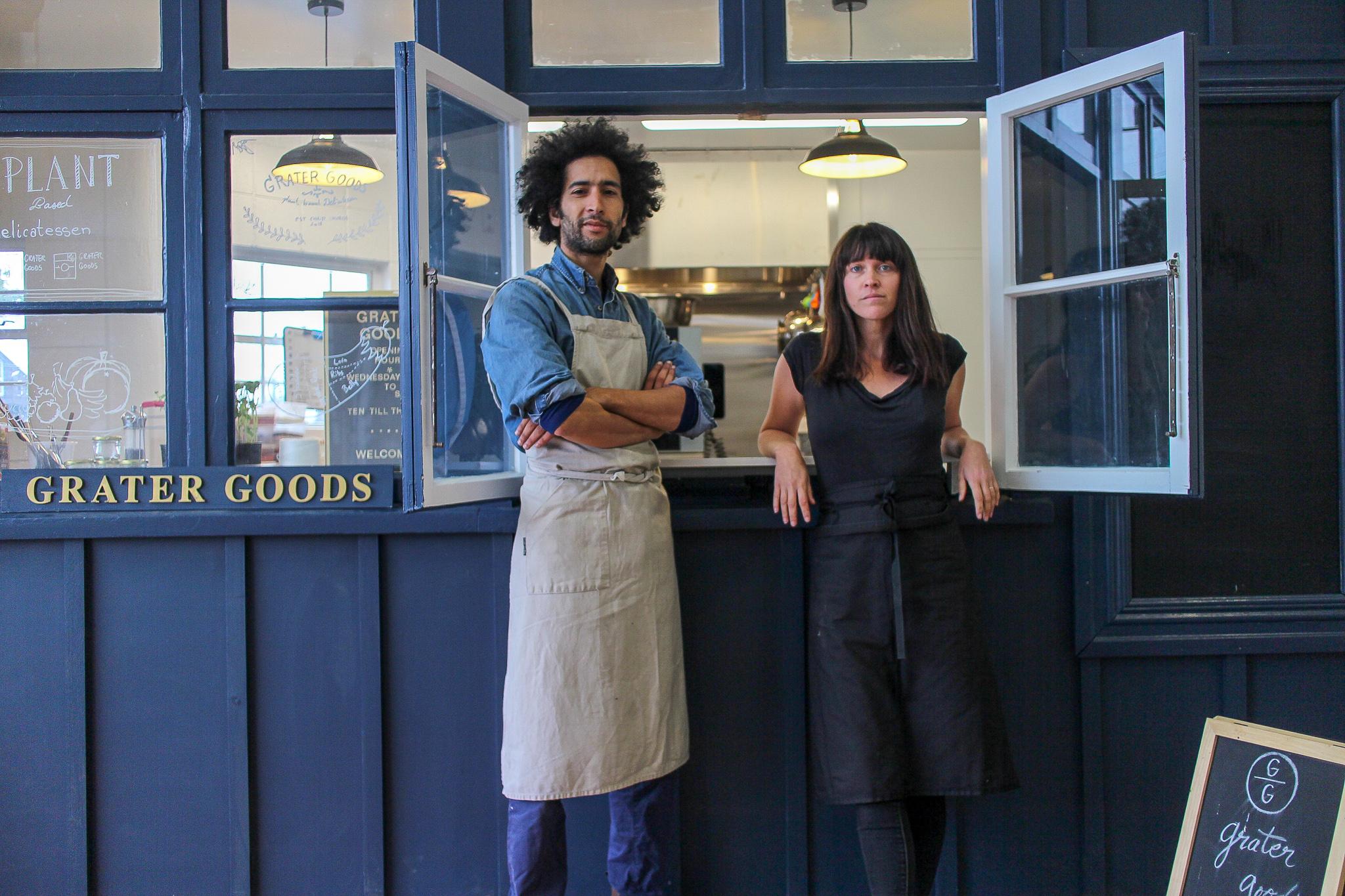 Flip & her husband Youssef Iskrane in front of their vegan delicatessen, Grater Goods.