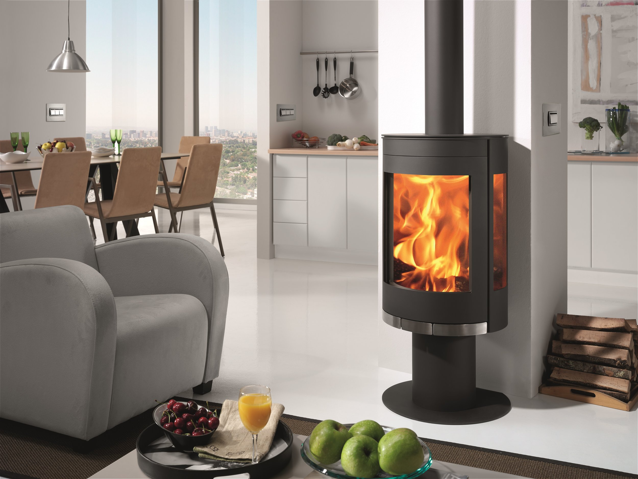 Our Vega wood burning stove has the perfect view, three glass panels for a full view of fire..jpg