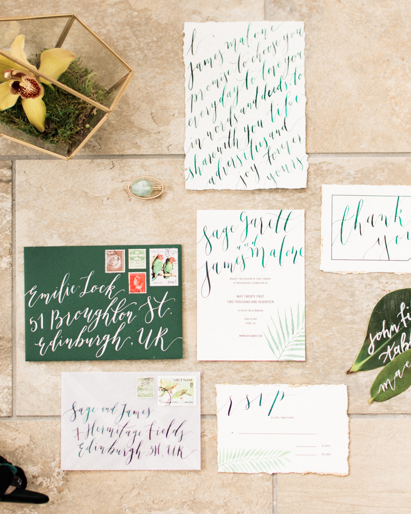 Tropical wedding_moderncalligraphy_green