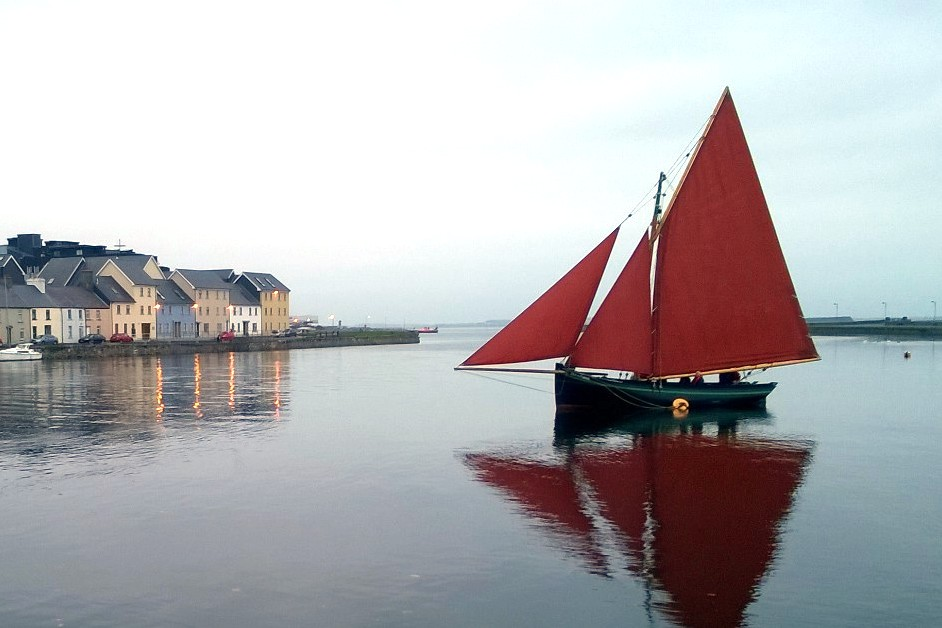 A hooker under full sail at Claddagh Quay.