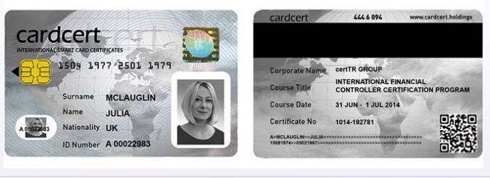 ** KATILIMCILARA SERTİFİKALI EĞİTİM PROGRAMLARINDA TÜM DÜNYADA UYGULAMAYA GEÇİLEN ULUSLARARASI ELEKTRONİK SERTİFİKA VE AKILLI KİMLİK KARTI ''CARDCERT International Smart Card Certificates'' SERTİFİKASI VERİLECEKTİR.