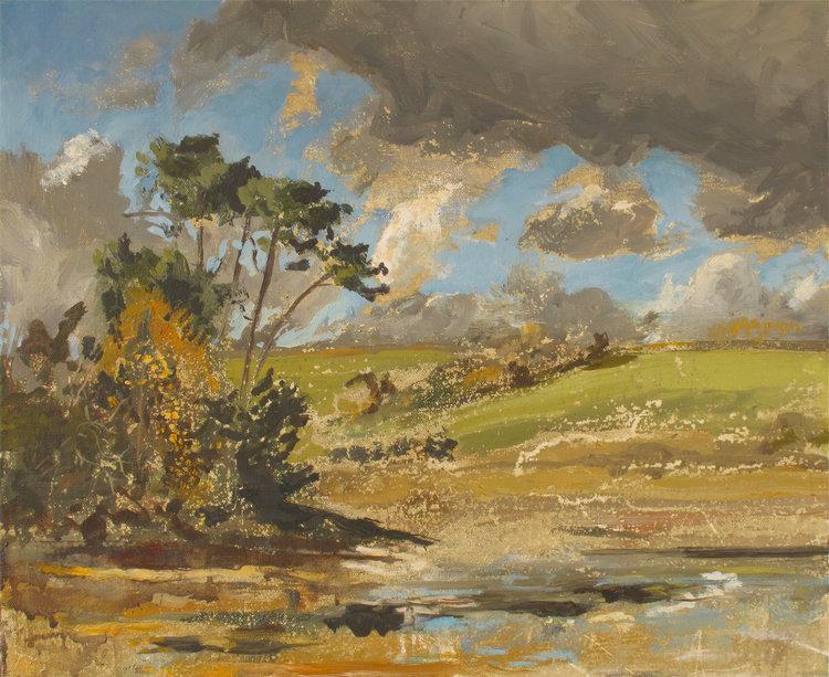 Autumn Rain Light, Low Tide - St Just in Roseland ( Oil on Linen ) 37.6 x 45.7 cm