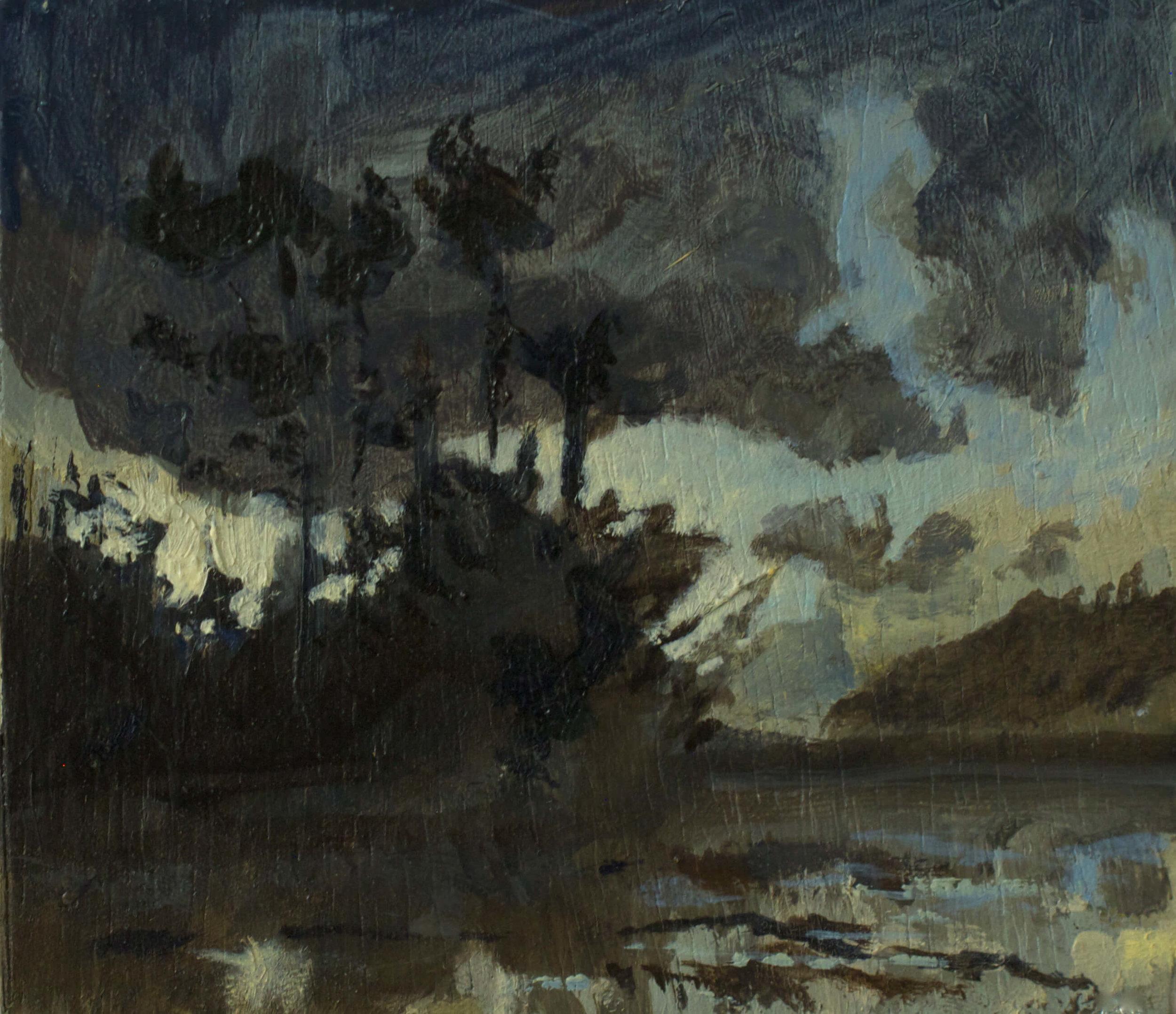 Winter last light , Low Tide - St Just in Roseland ( Oil on Panel ) 13.4 x 15.4 cm