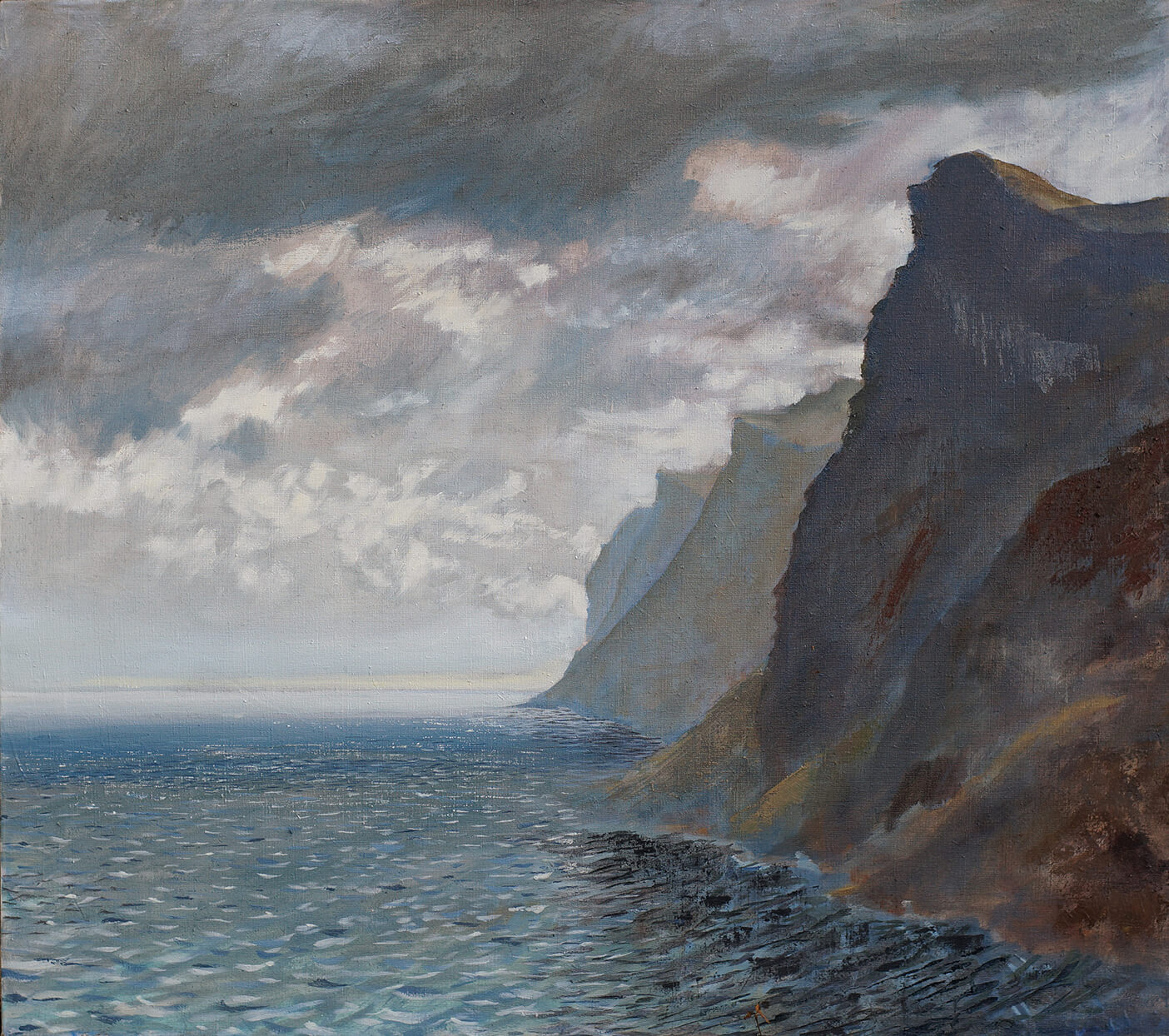 The Cliffs of Carsaig - Distant Light at the end of a cloudy day ( Oil on Linen ) 81.5 x 92 cm